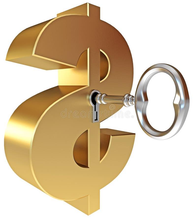A Chave Abre Um Sinal De Dólar Foto de Stock