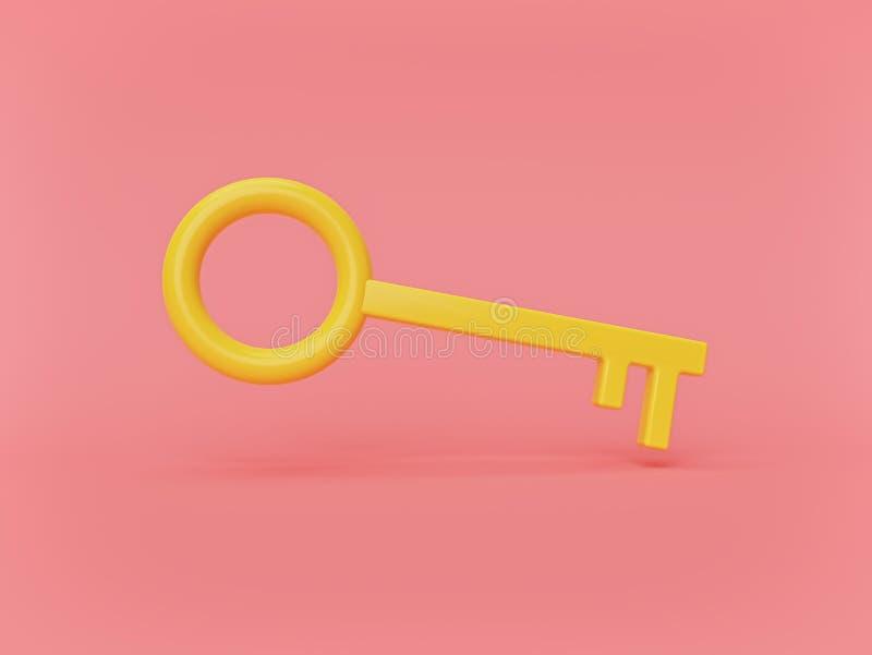 Chave amarela mínima Projeto simples rendi??o 3d ilustração do vetor