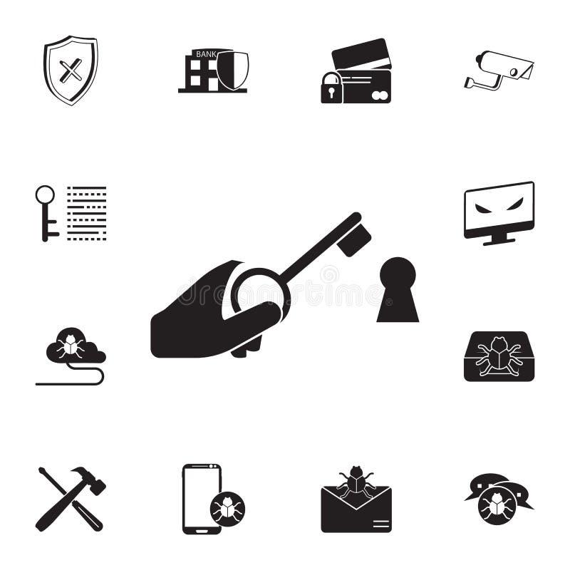 chave ao ícone do fechamento Grupo detalhado de ícones da segurança do cyber Sinal superior do projeto gráfico da qualidade Um do ilustração do vetor