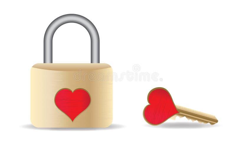 Chave ao coração ilustração do vetor