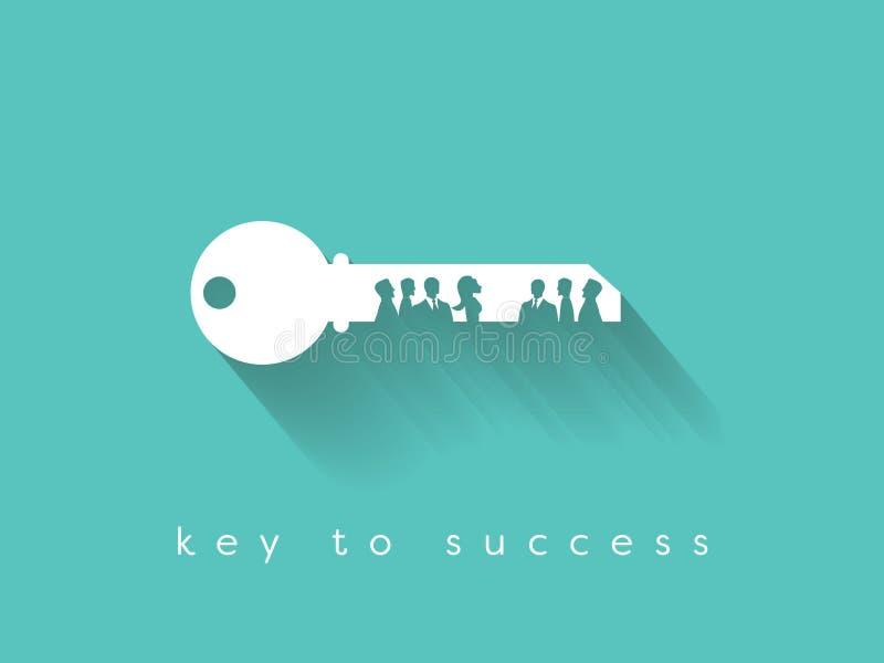 A chave ao sucesso está no conceito do vetor do negócio dos trabalhos de equipa e da comunicação ilustração do vetor