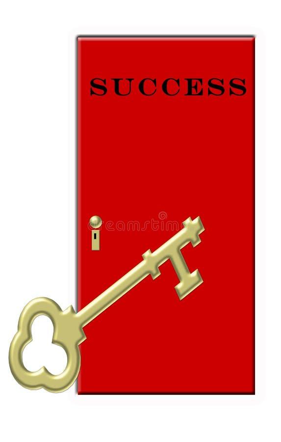 Chave ao sucesso - porta vermelha chave do ouro ilustração stock