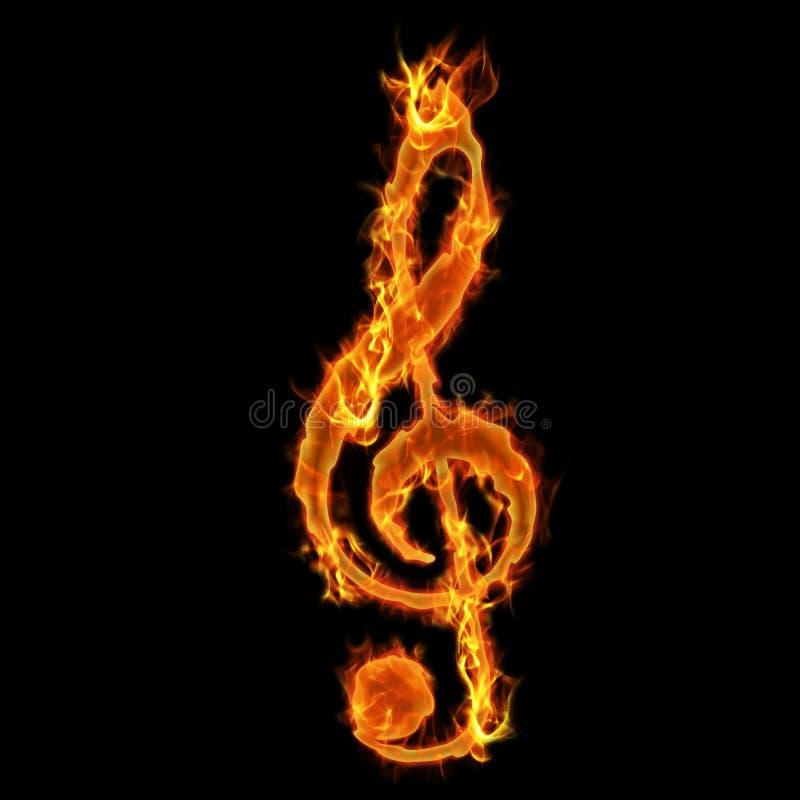 Chave ardente da música ilustração stock
