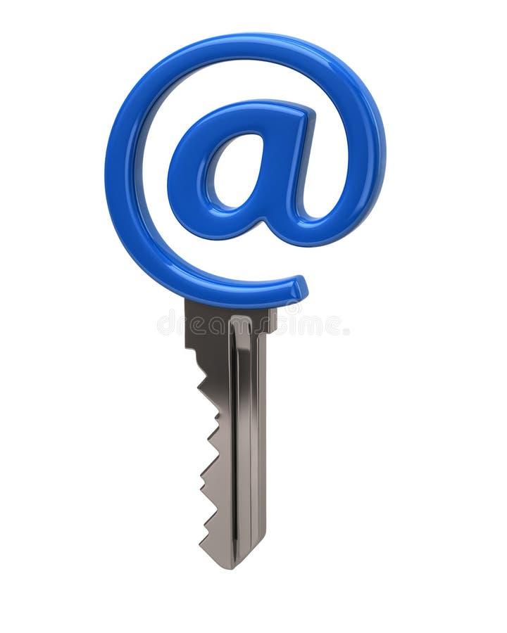 Chave azul do correio ilustração stock