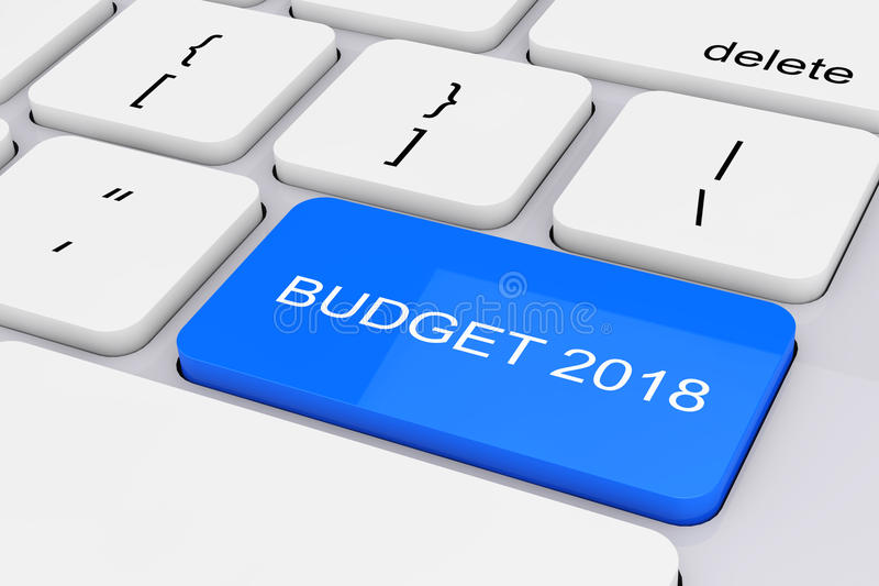 Chave azul do orçamento 2018 no teclado branco do PC rendição 3d ilustração stock