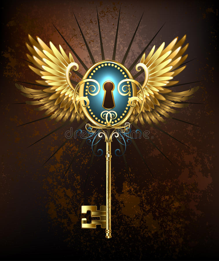 Chave com asas douradas ilustração stock
