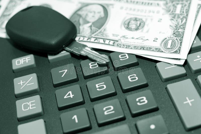 Chave da calculadora, do momey e do carro imagens de stock