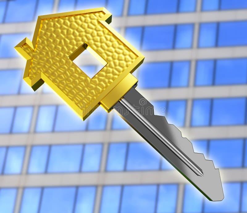 Chave da casa ideal do ouro ilustração do vetor