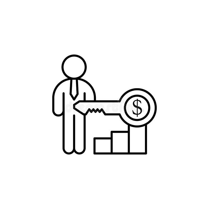 Chave da oportunidade ao ícone da estratégia do sucesso Elemento da linha CI da motivação do negócio ilustração do vetor