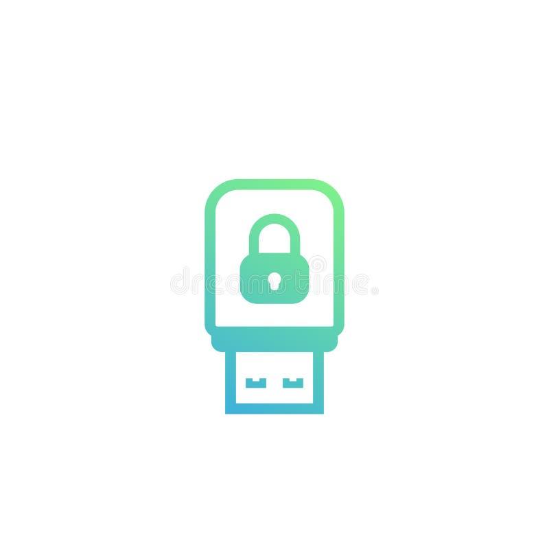 Chave da segurança, ícone da vara do usb ilustração stock