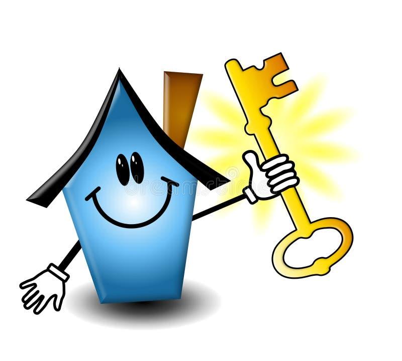 Chave da terra arrendada da casa dos bens imobiliários ilustração stock