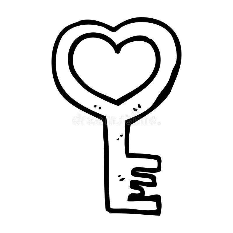 chave dada forma coração dos desenhos animados ilustração do vetor