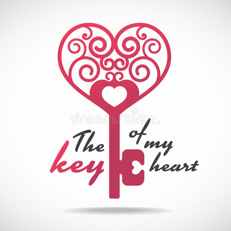 A chave de meu projeto do vetor do coração (chave cor-de-rosa do coração) ilustração royalty free