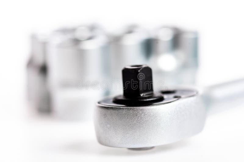 Chave de soquete jogo de ferramentas perfeito Aço de vanádio de Chrome equipamento metalizado do reparo Chave de soquete isolada  imagem de stock