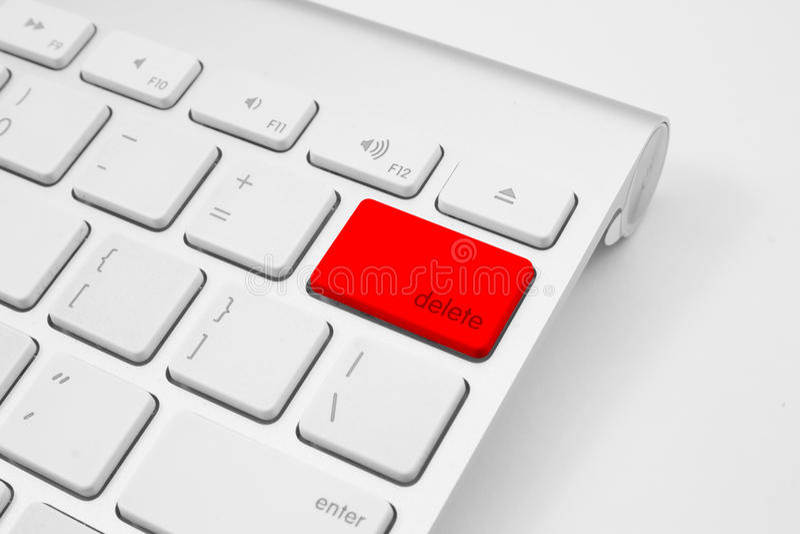 Chave de supressão do botão vermelho foto de stock