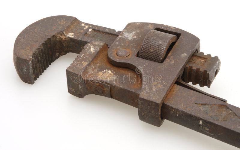 Chave de tubulação do vintage fotografia de stock