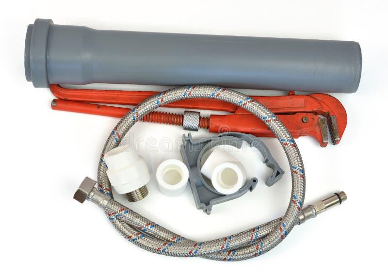 Chave de tubulação e peças sondar imagens de stock