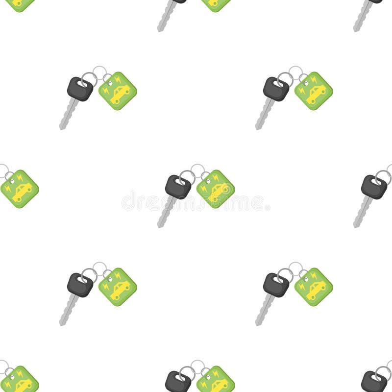 Chave do ícone do carro do eco no estilo dos desenhos animados isolado no fundo branco Ilustração bio e da ecologia do símbolo do ilustração royalty free