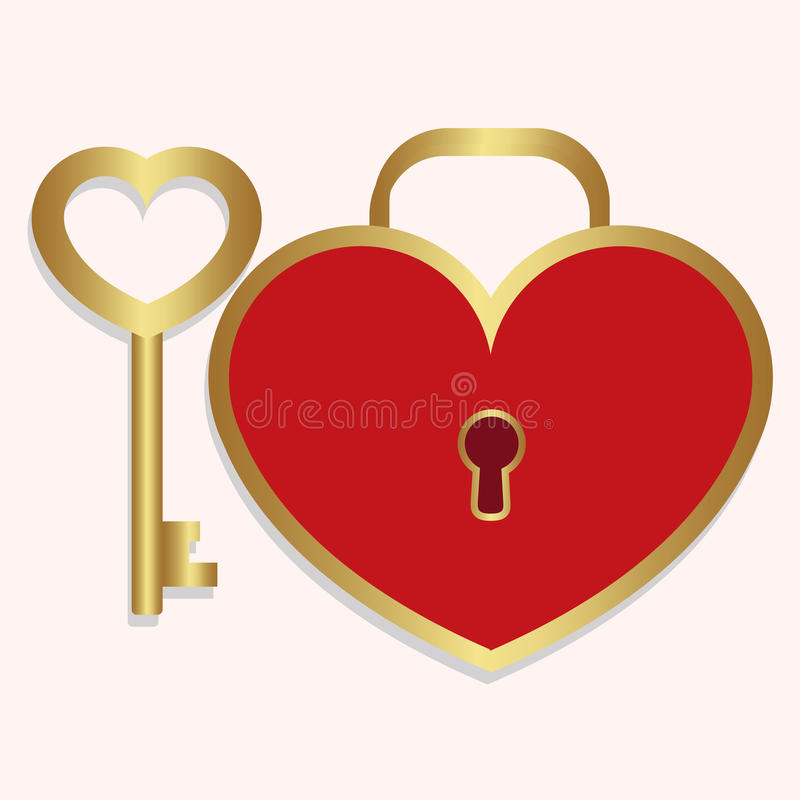 A chave do ícone e o coração coloridos do fechamento deram forma ao vermelho com ouro em um branco ilustração stock
