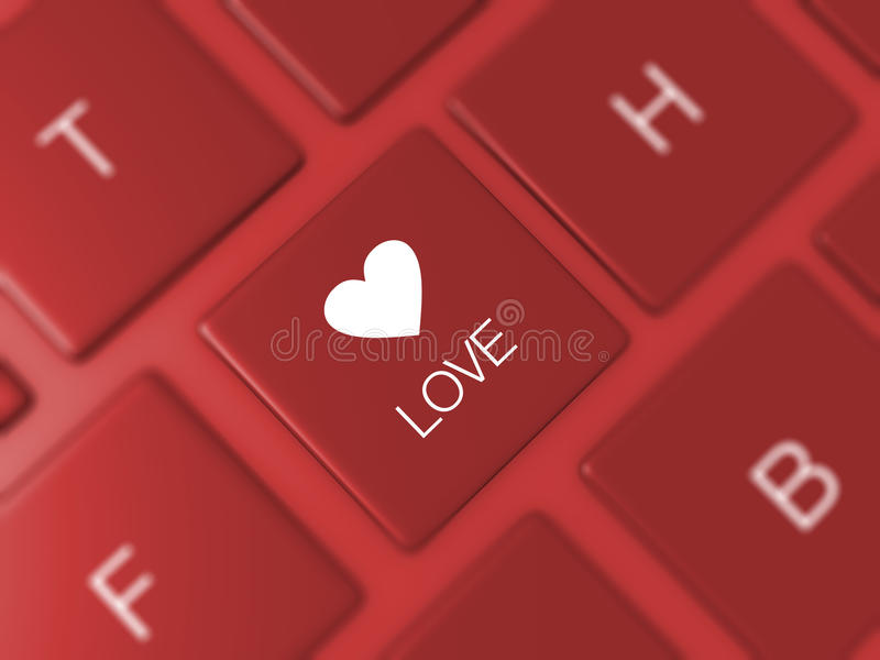 Chave do amor no teclado ilustração royalty free