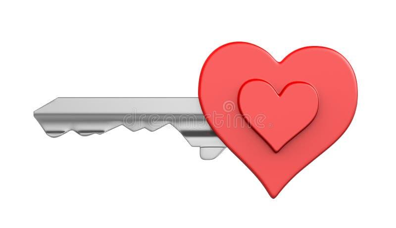 Chave do coração isolada ilustração royalty free