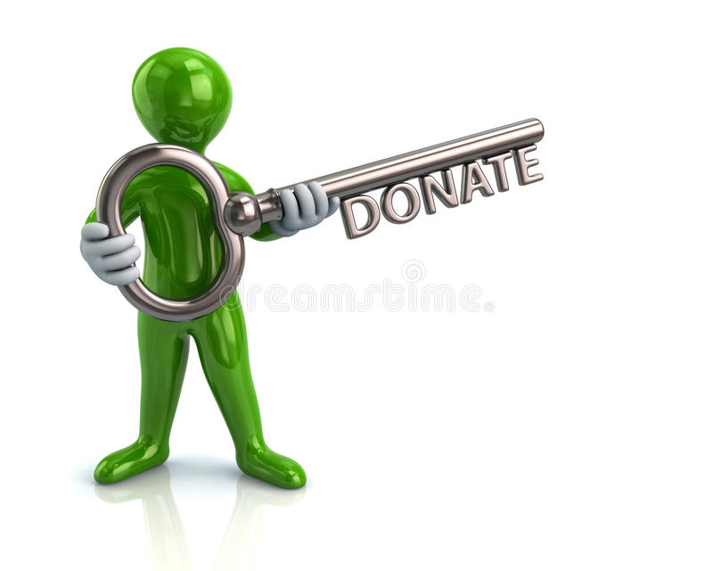 A chave do homem verde e da prata com palavra doa ilustração stock