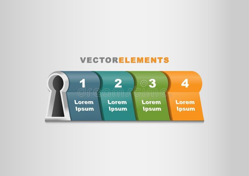 chave do molde de Infographic do vetor 3D ao conceito do sucesso horizontal ilustração do vetor