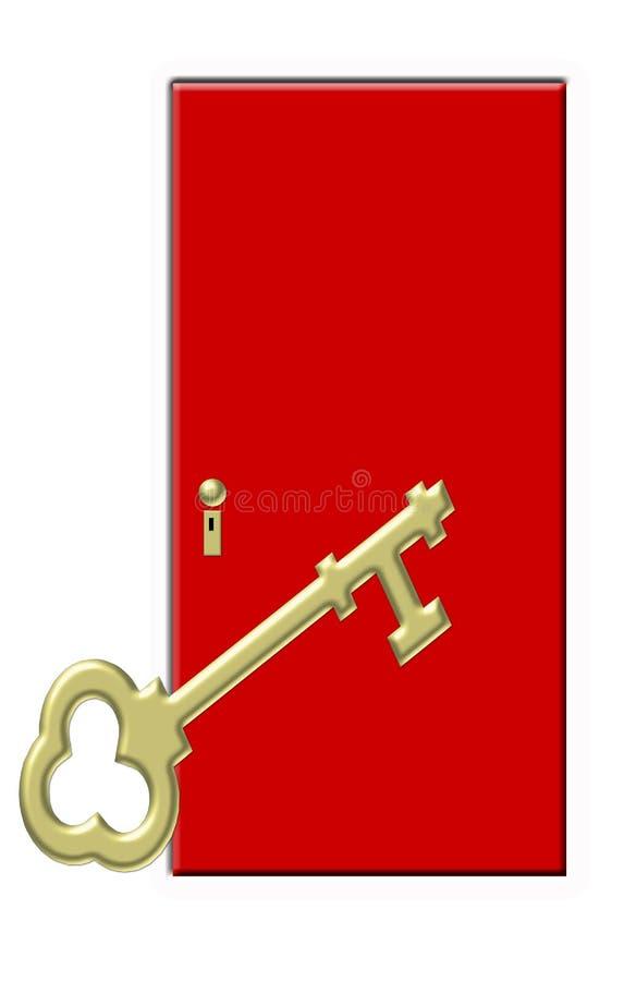Chave do ouro com porta vermelha ilustração royalty free