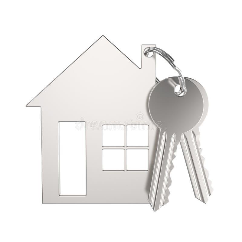 chave do ouro da prata da ilustração 3D com keychain sob a forma de um s ilustração stock