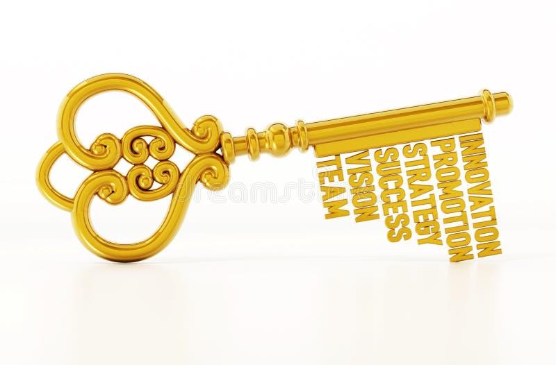 Chave do ouro do vintage com palavras relacionadas do negócio e do sucesso ilustração 3D ilustração stock