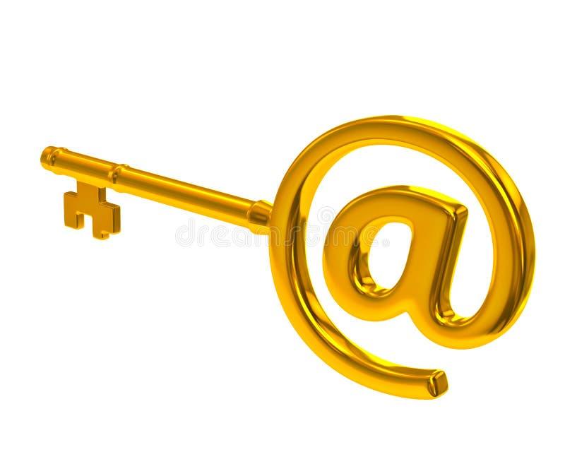 Chave dourada com símbolo do email ilustração stock