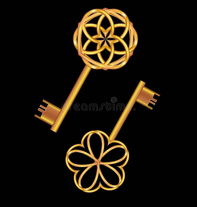 chave dourada do vintage 3D ilustração do vetor