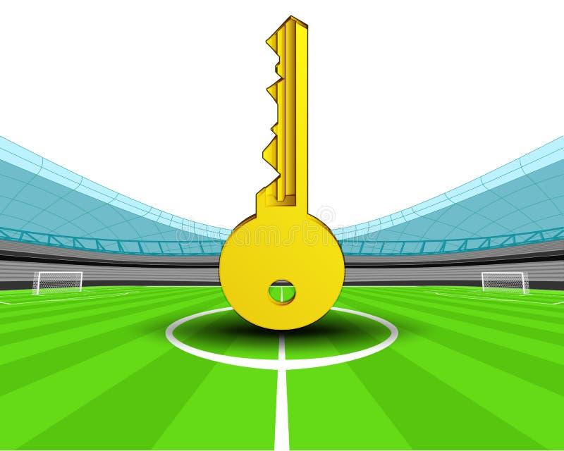 Chave dourada no meio-campo do vetor do estádio de futebol ilustração royalty free