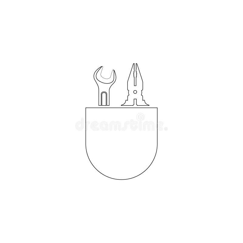 Chave e alicates ?cone liso do vetor ilustração royalty free