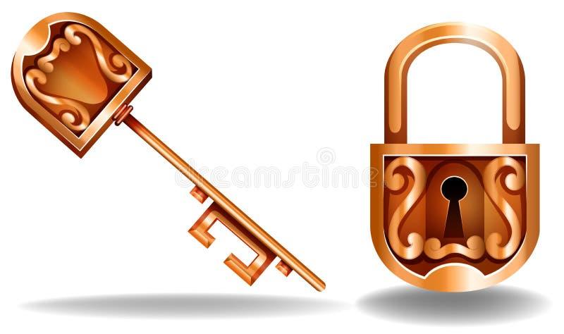 Chave e fechamento ilustração stock