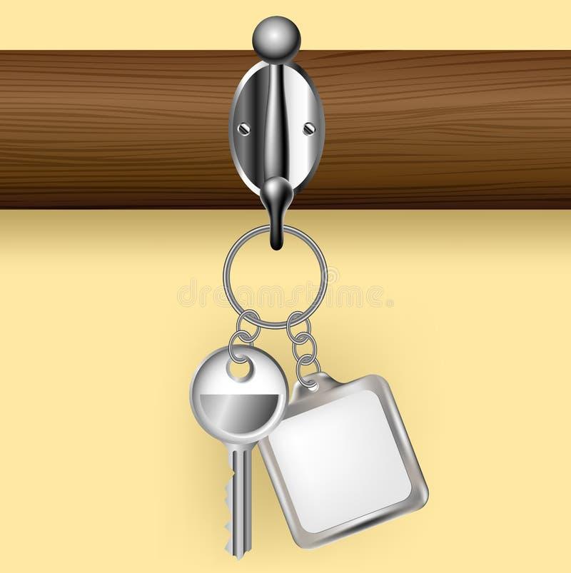 Chave e porta-chaves em uma cremalheira do revestimento imagem de stock