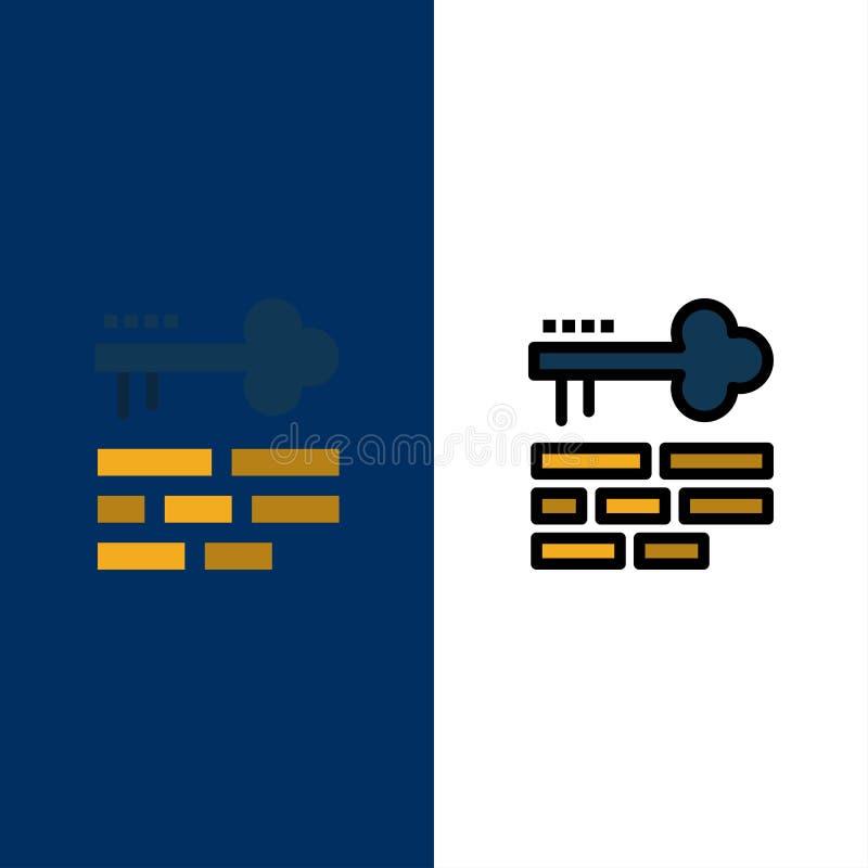 Chave, fechamento, disposição, ícones do início de uma sessão O plano e a linha ícone enchido ajustaram o fundo azul do vetor ilustração do vetor