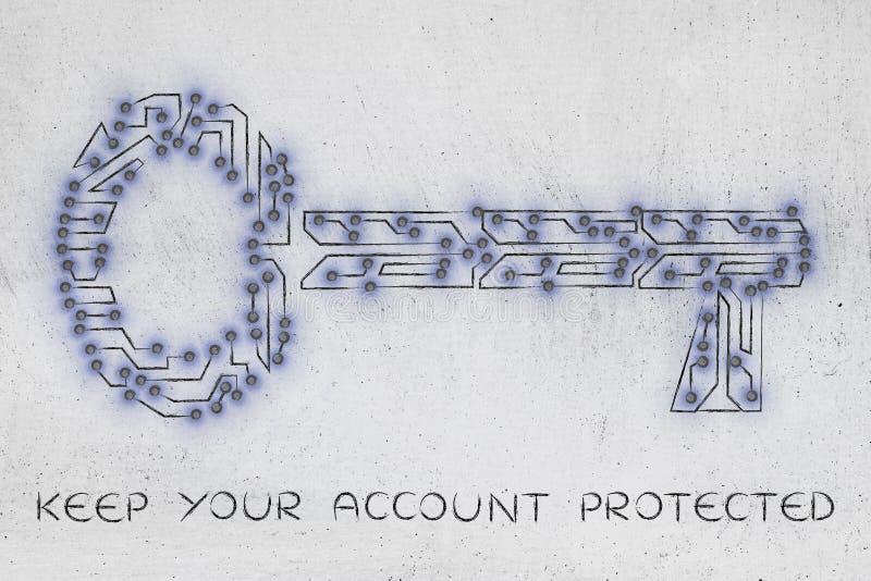 Chave feita do circuito, de senhas e da segurança eletrônicos do microchip foto de stock royalty free