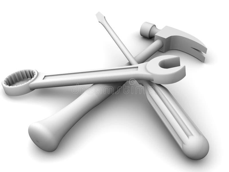 Chave inglesa, chave de fenda, martelo ilustração do vetor