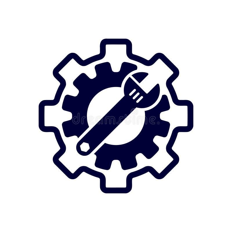 chave inglesa, reparo, chave, indústria, chave de fenda, engrenagem, ajustes, equipamento, serviço, manutenção, ícone azul da cor ilustração do vetor