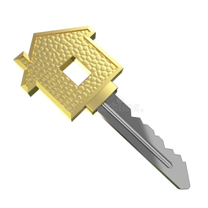 Chave isolada da casa ideal do ouro ilustração stock