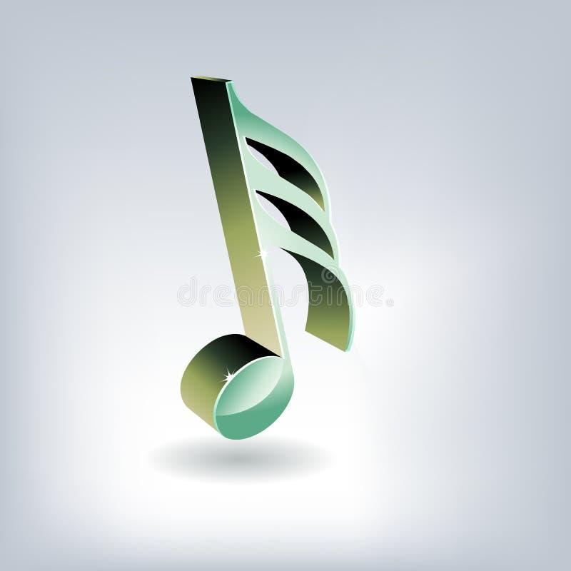 chave lustrosa da música 3D ilustração do vetor