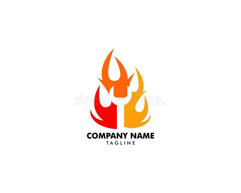 Chave no estilo negativo do espaço do molde do vetor do projeto do logotipo da chama do fogo ilustração royalty free