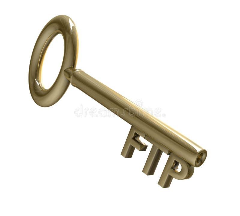 Chave no ouro com texto do ftp (3d) ilustração stock