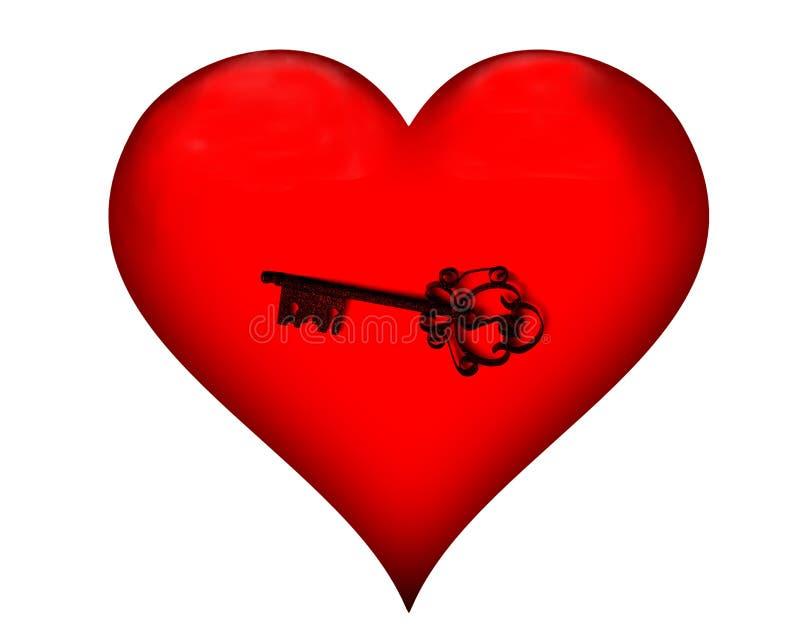 A chave no símbolo vermelho do coração do amor foto de stock royalty free