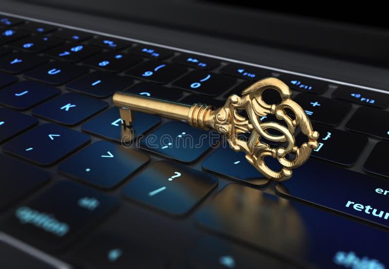 Chave no teclado ilustração stock