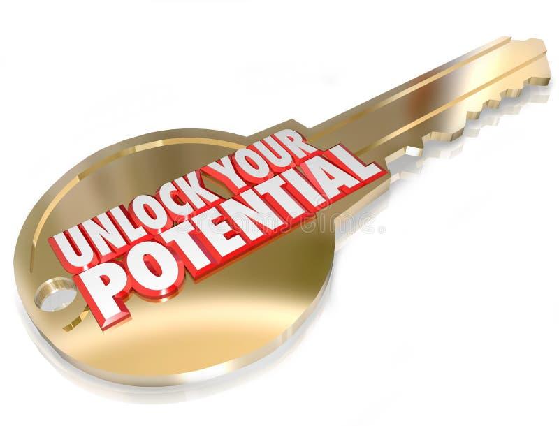 A chave para destravar seu potencial toma a oportunidade da vantagem ilustração royalty free