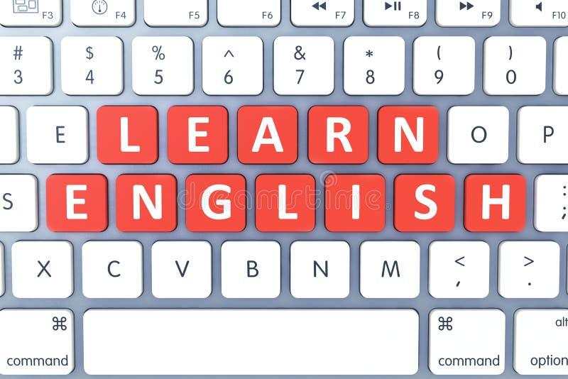 Chave quente para o inglês Learn no teclado de computador moderno Vista superior fotos de stock