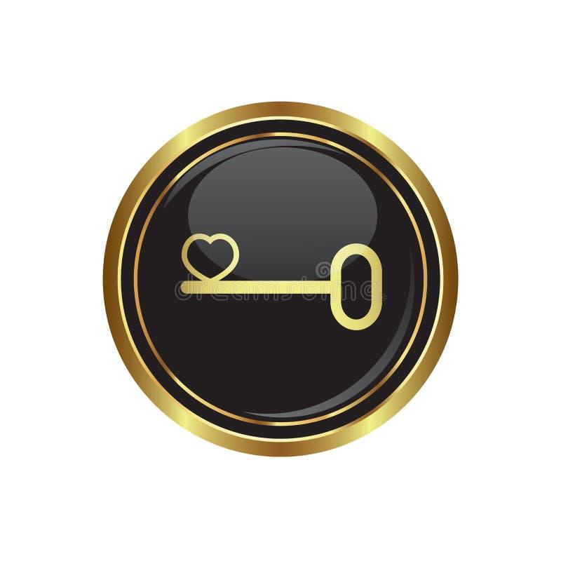Chave a seu ícone conceptual do coração no botão ilustração stock