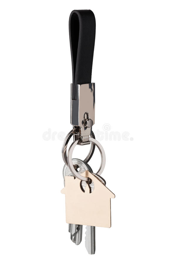 chave unida a um keychain de couro fotos de stock